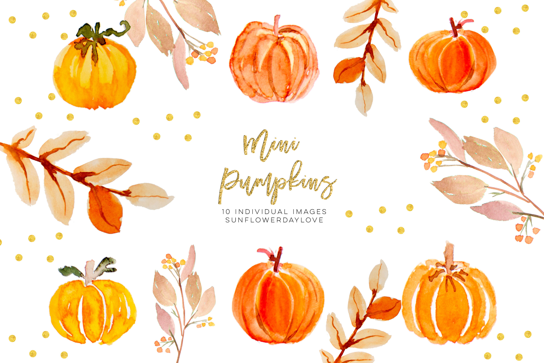 Thanksgiving clipart, Mini Pumpkins clip art, fall digital.