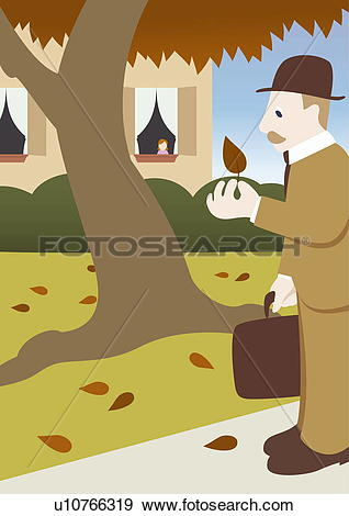 Stock Illustration of Father returning home from work observing.