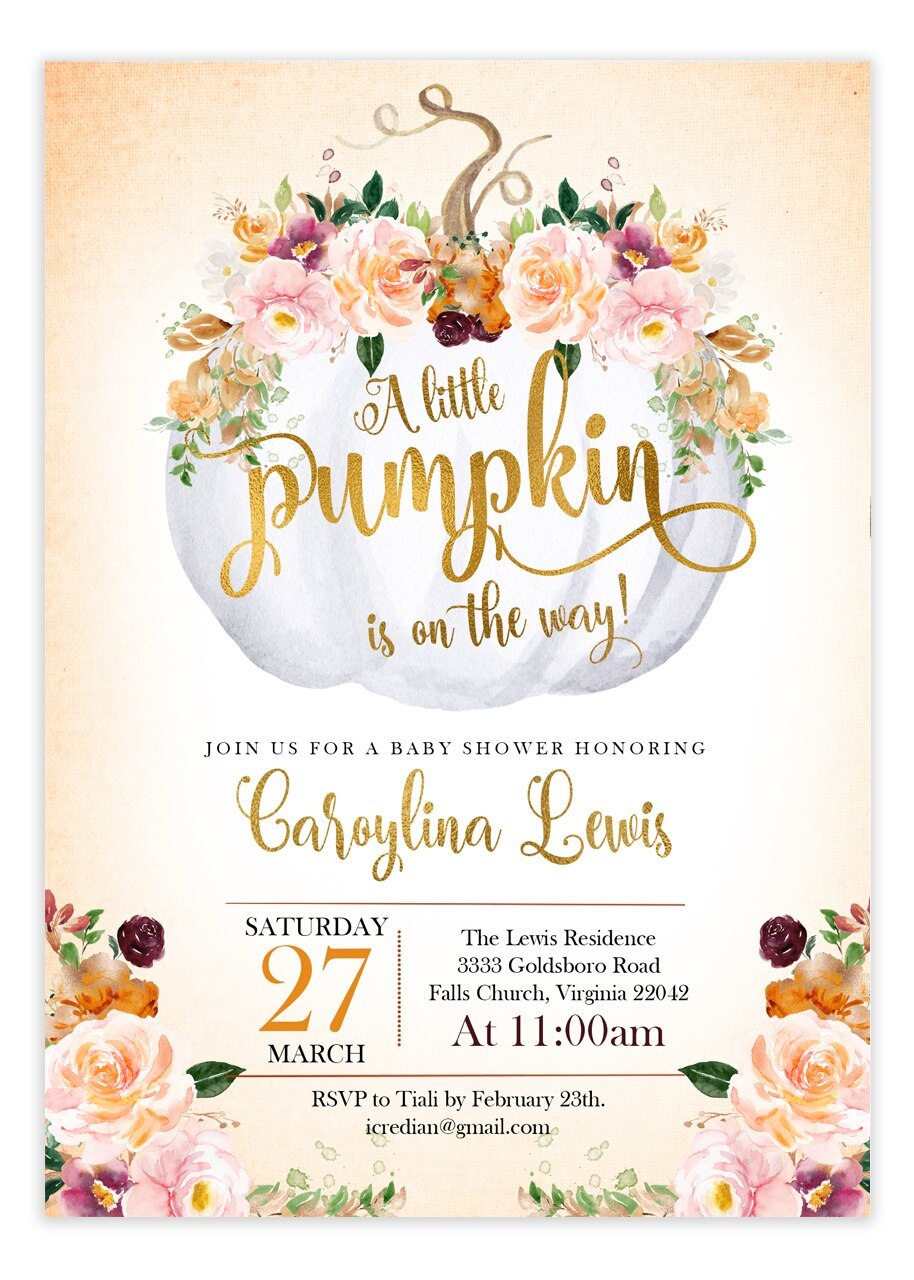 Pumpkin baby shower invitation, fall baby shower #a1.