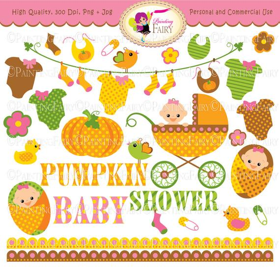 Autumn Baby Girl Clipart Cute pumpkin Baby clothes line socks Baby Shower  Fall baby carriage flowers birds socks Cliparts elements pf00047.