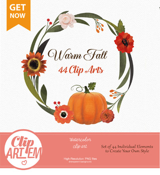 Fall Clip Art for Floral Autumn Decor, Thanksgiving day, Halloween, Baby  Shower.