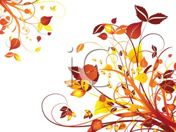 Fall Leaves and Swirls Background.