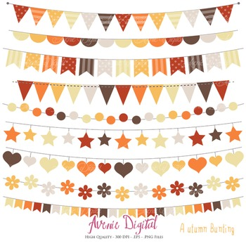 Autumn Bunting Banner Clipart Scrapbook Vector fall colors Clip art  Thanksgiving.