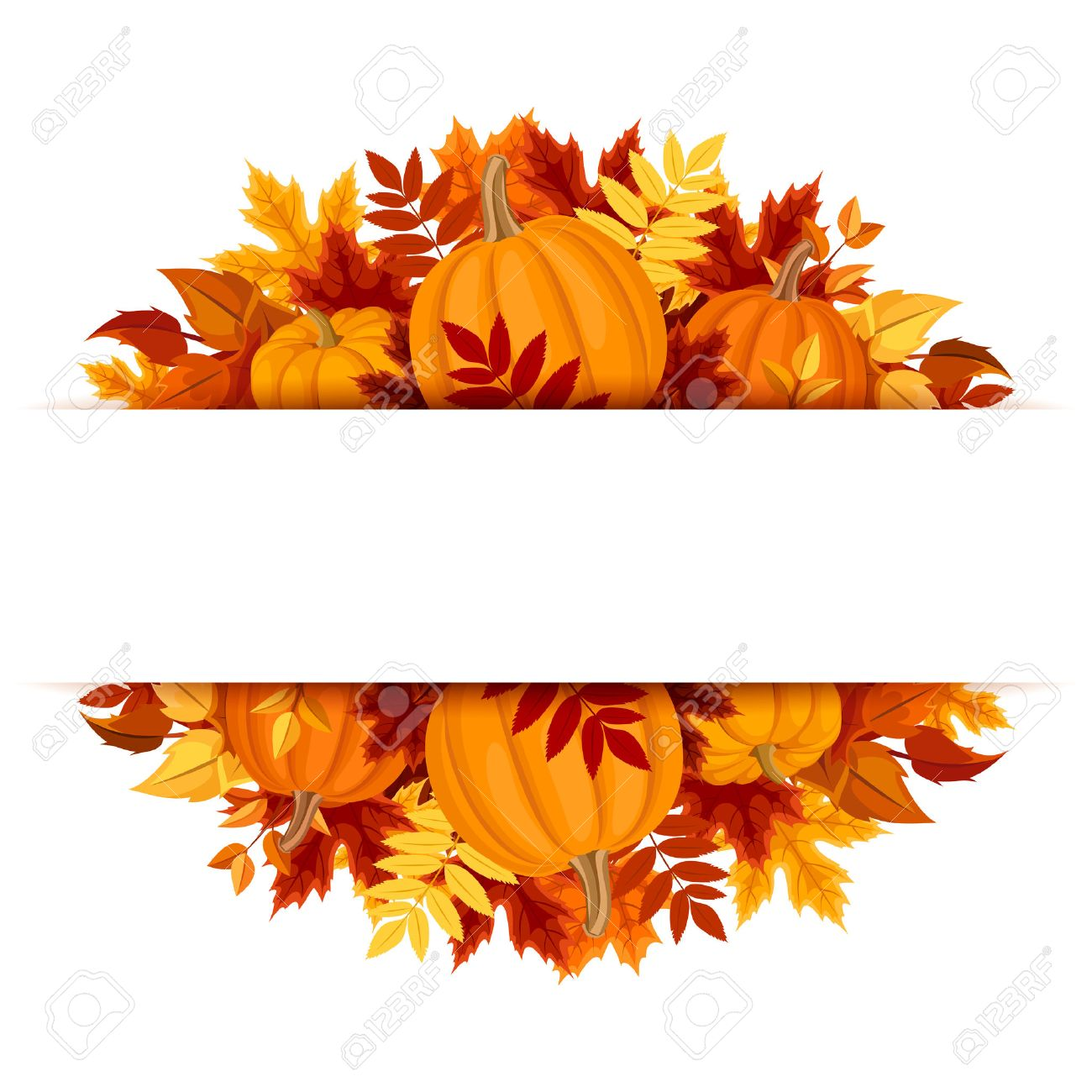 Banner with pumpkins and colorful autumn leaves..