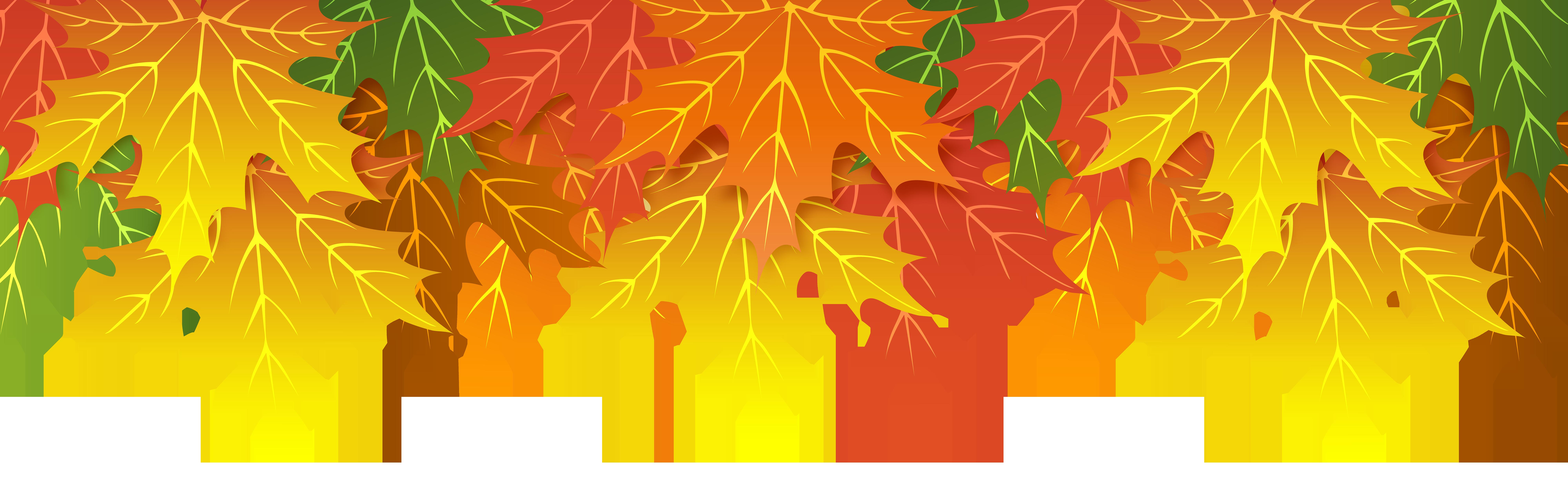 Fall Leaves Upper Border PNG Clip Art Image.