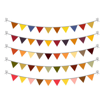 Fall Bunting Clipart, Bunting Banner Clipart, Autumn Bunting SVG, Garland.