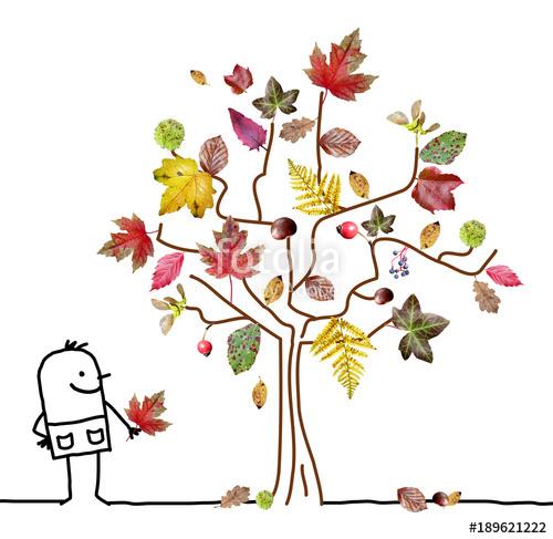 Cartoon Man Watching an Autumn Tree