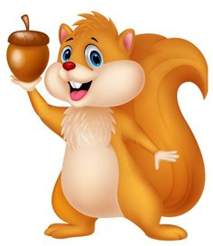 Cute Squirrel Cartoon Character Holding A Acorn. Raster.