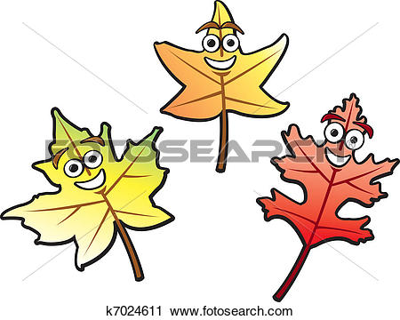 Clipart of Cartoon Fall Leaves k7024611.