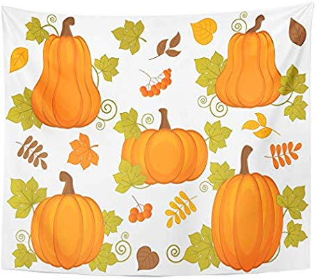 Amazon.com: Emvency Wall Tapestry Green Fall with Pumpkin.