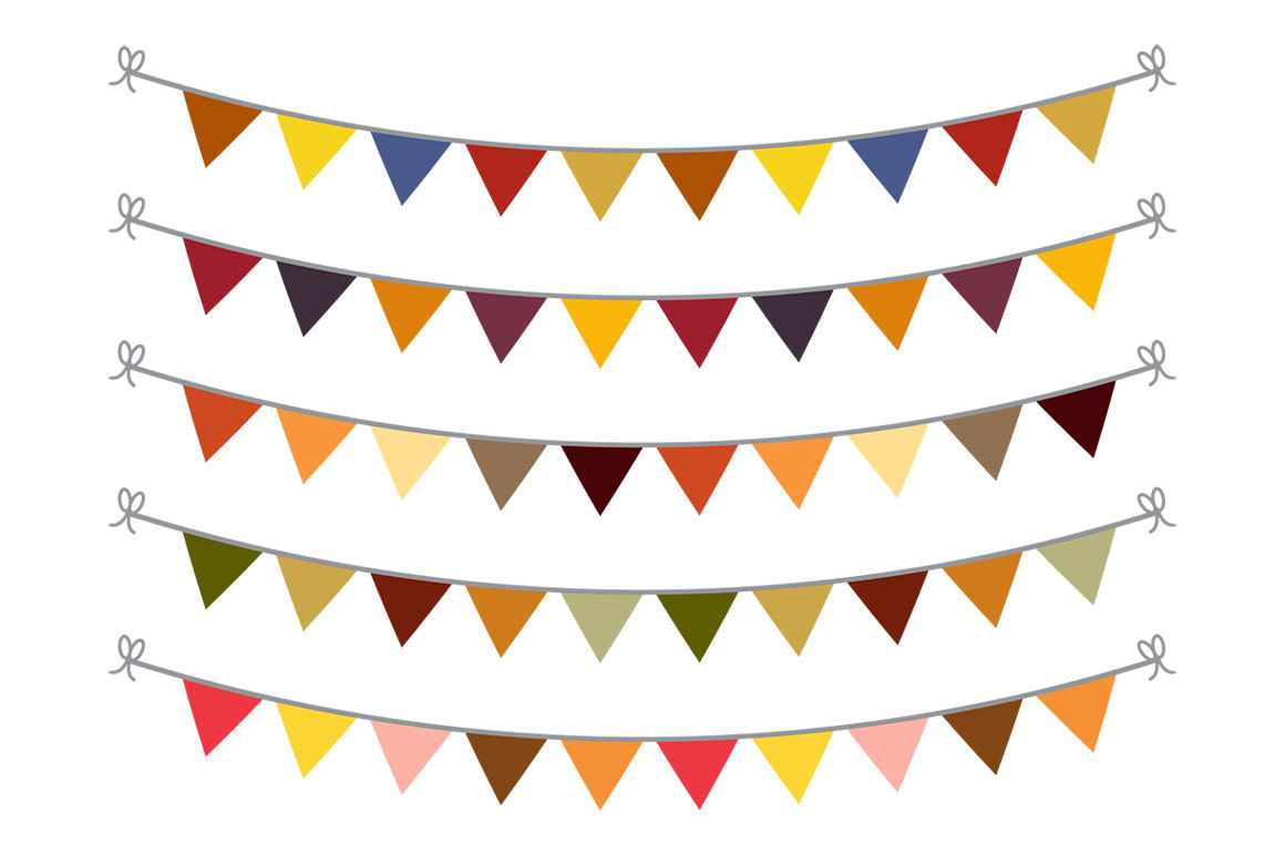 Fall Bunting Clipart, Bunting Banner Clipart, Autumn Bunting SVG.