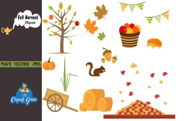 Fall Clipart, Fall, Harvest Clipart, Fall Tree clipart, Fall Leaves  clipart, Pumpkin clipart, Fall party banner, Leaves clipart, Fall clip.