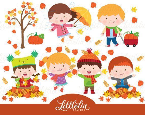 Autumn kid clipart.