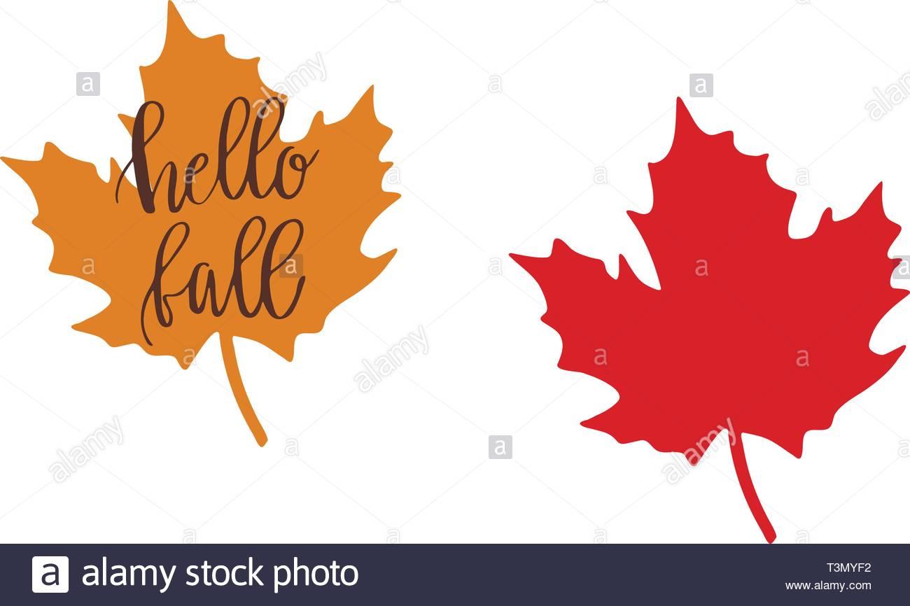 Hello Fall Clipart. Fall Leaves Stock Vector Art & Illustration.