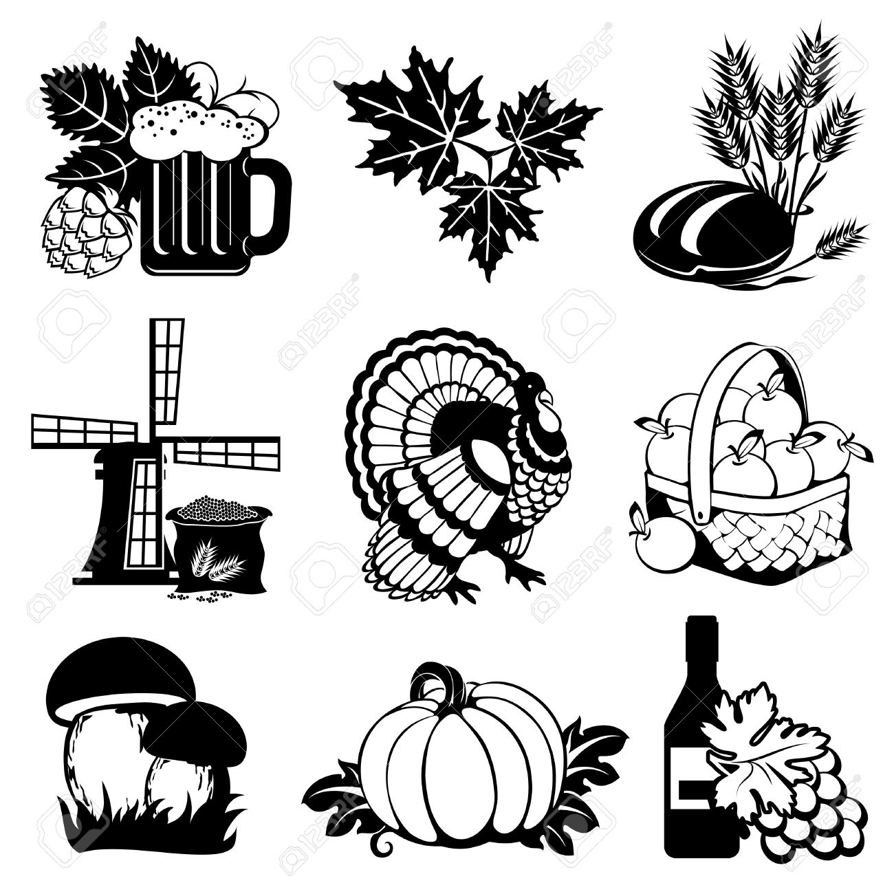 Set Of Vector Silhouette Images Of Fall Festivals And Harvest.