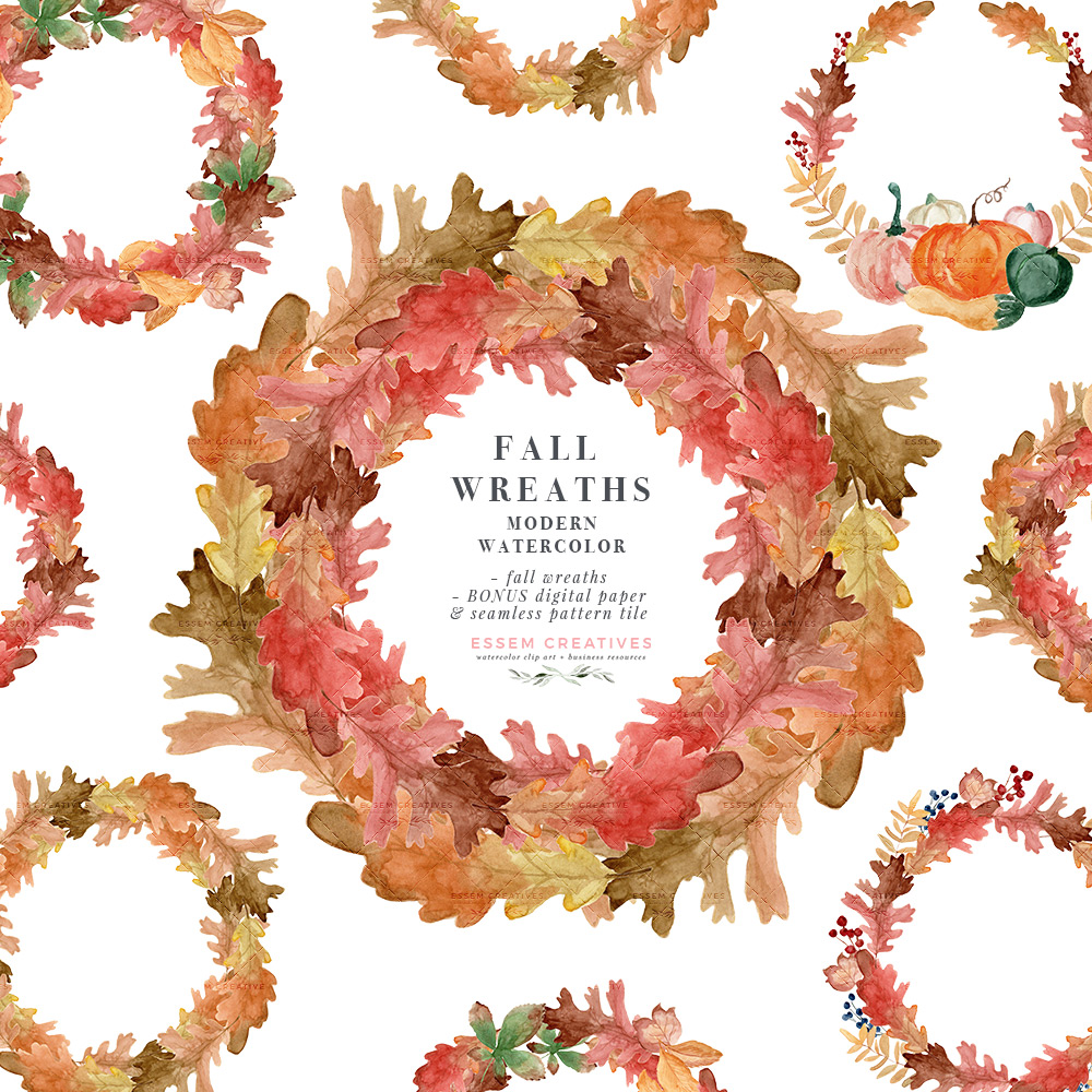 Watercolor Fall Leaf Wreaths Clipart, Thanksgiving Fall Wedding Bridal  Shower Invitation Graphic with Transparent Background.