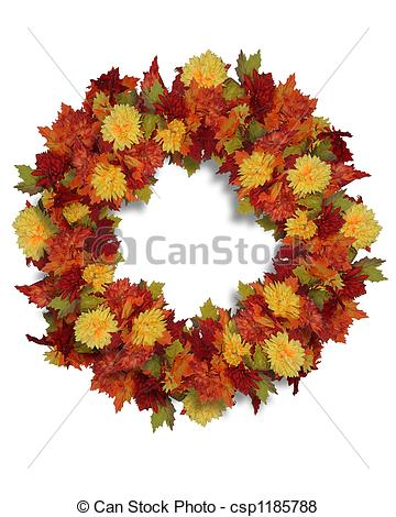 Pictures of Autumn Flowers wreath.