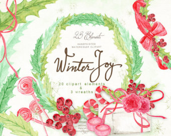 Watercolor clipart, wreath clipart, branches clipart, leaves.