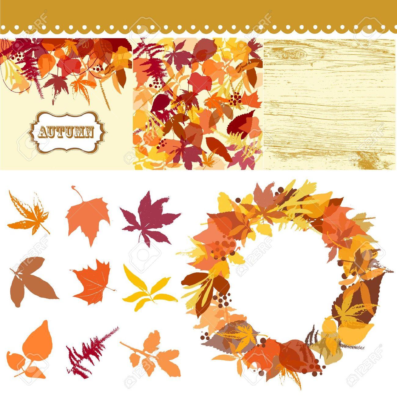 Autumn Leaves Set, Leaves Clip Art, Fall Backgrounds, Wodden.