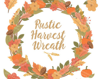 Create Your Own Fall Floral Wreath, Watercolor Fall Clipart.