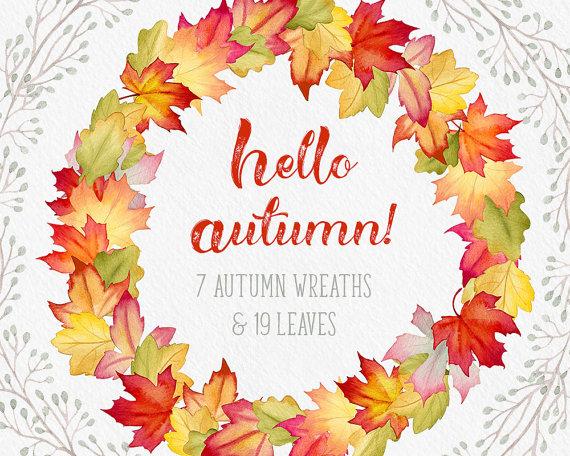 Fall wreaths clipart, fall leaves clipart, Autumn leaves clipart.