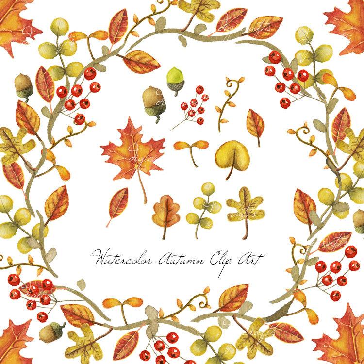 Autumn Leaves Watercolor Clip Art.