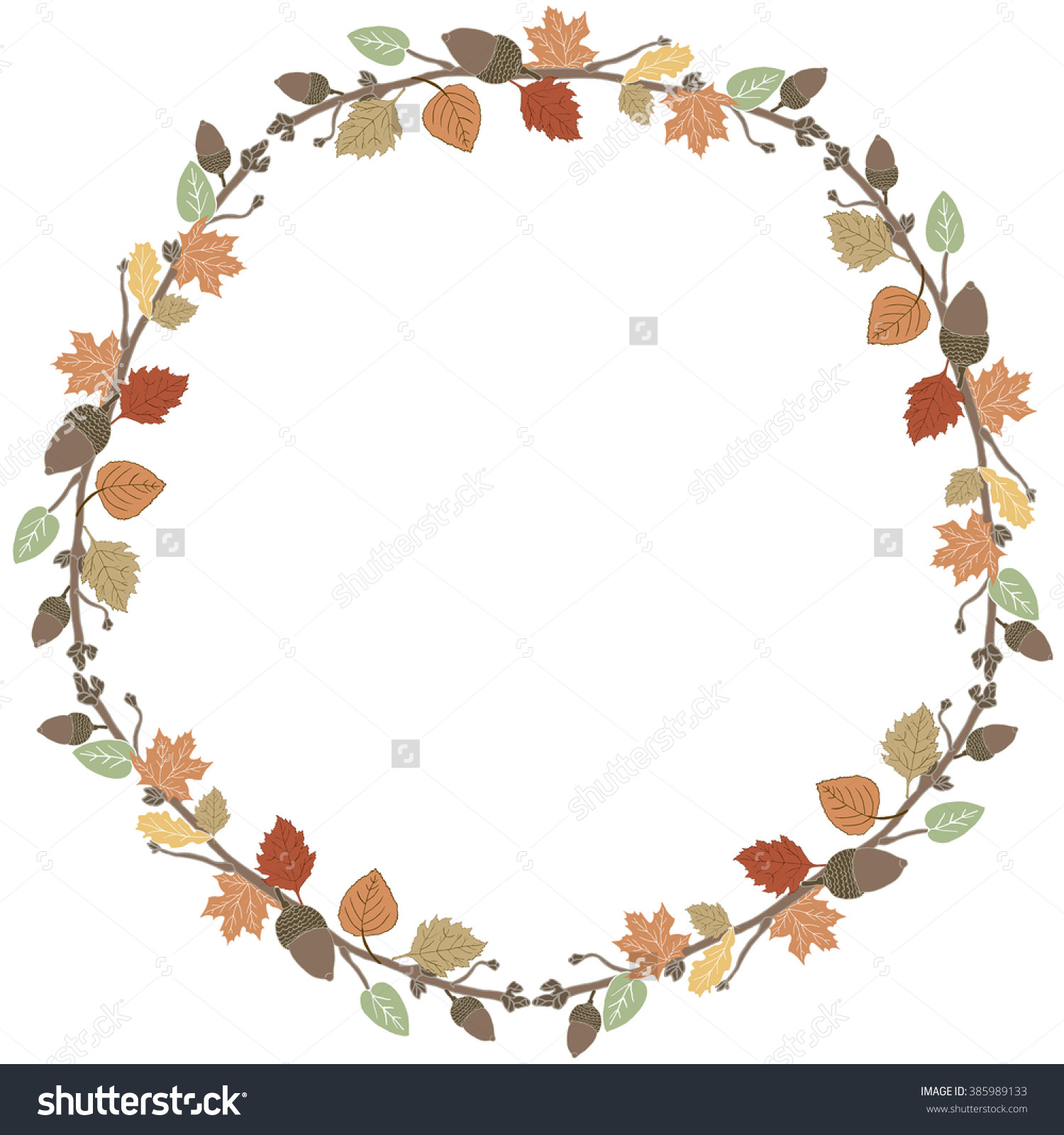 Fall Wreath Fall Leaves Wreath Cute Stock Illustration 385989133.