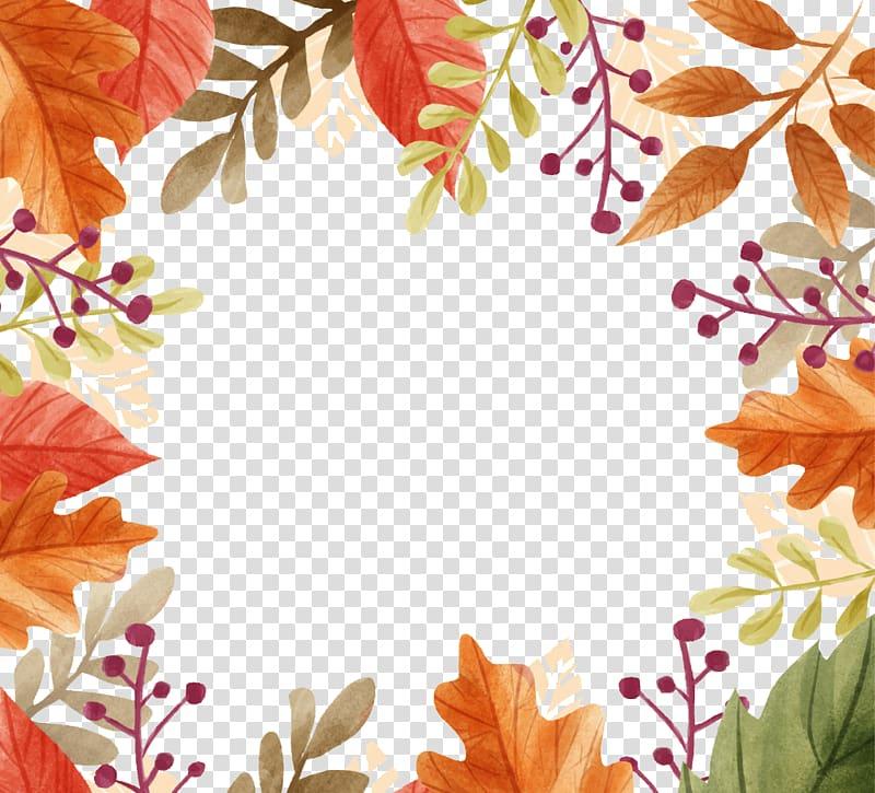 Brown floral border illustration, Autumn Craft Fair.