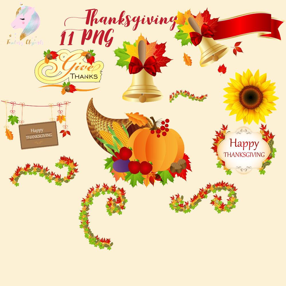 Thanksgiving clipart, autumn decor clipart, fall digital images, leaves  swirls, yellow sunflower, wooden signs, fruit basket, orange pumpkin.