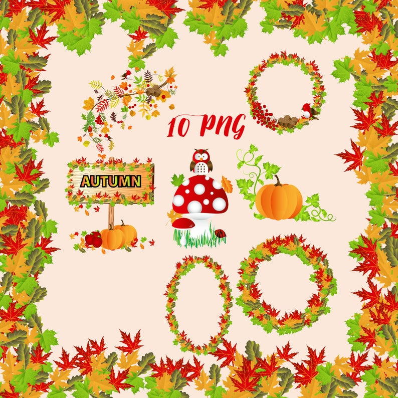 Autumn clipart, fall clip art set, autumn wreaths, leaves confetti, leaf  borders, thanksgiving graphic, cute brown owl, red white mushroom,.