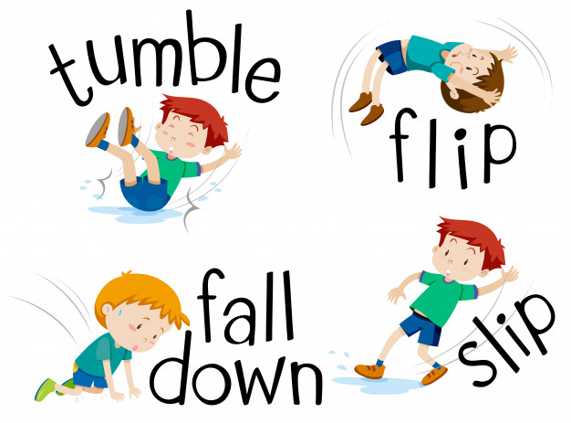 Boy flipping and falling down Vector.