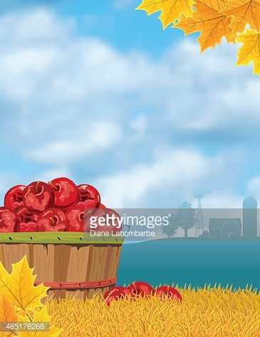 Fall Farm Harvest of Apple On A Grass Hill Clipart Image.