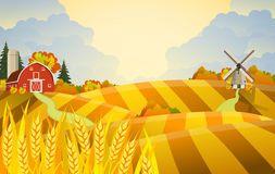 Cartoon beautiful fall farm scene Royalty Free Stock Images.
