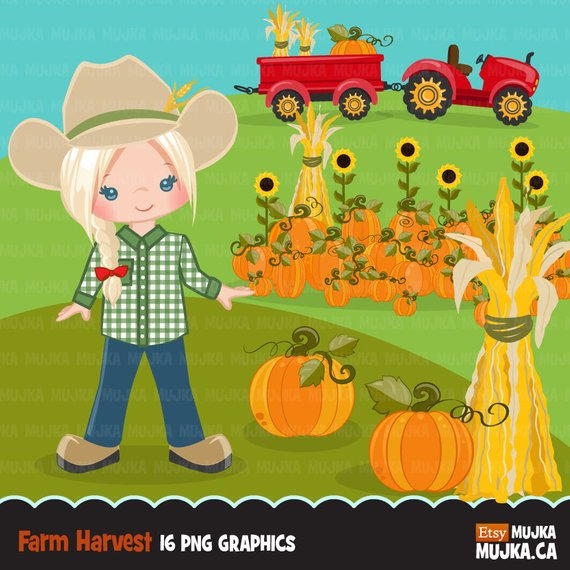 Farmer Clipart, fall farmers with tractor, cute character.