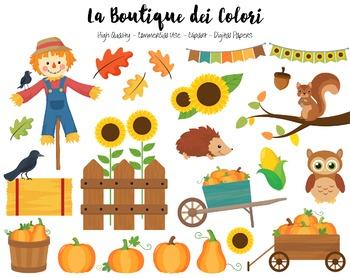 Autumn Pumpkin Harvest Clipart.