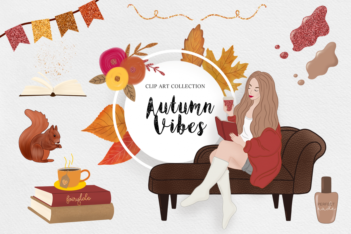 Autumn Clipart, Fashion Girl, Digital Backgrounds Fall Vibes.