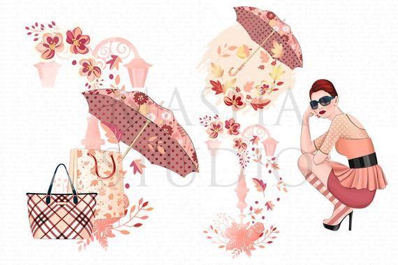 Romantic Fall Clipart Autumn Clipart Fall Fashion Clipart.