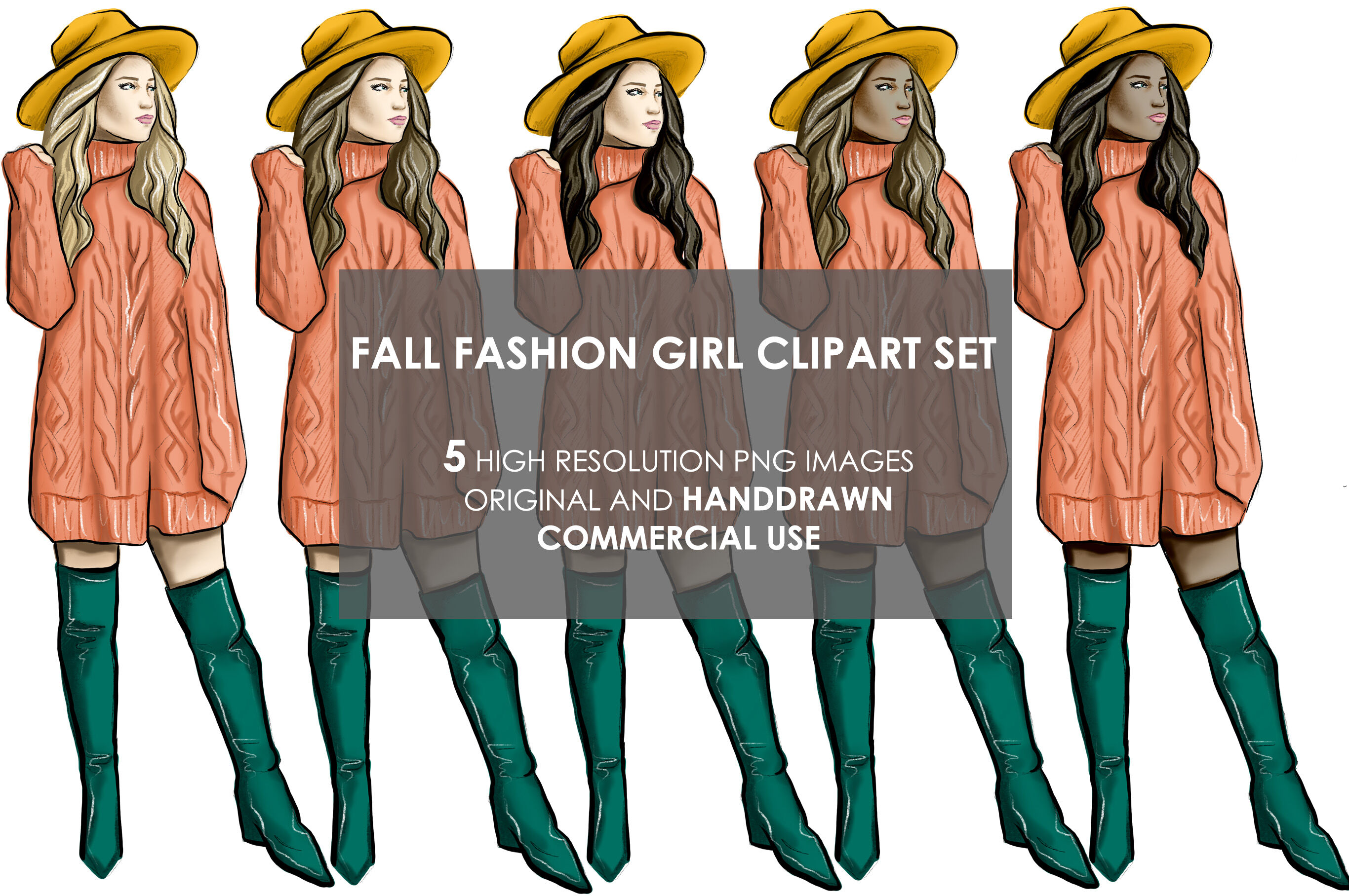 Autumn fall fashion girls clipart By OlgaBurunovaArt.