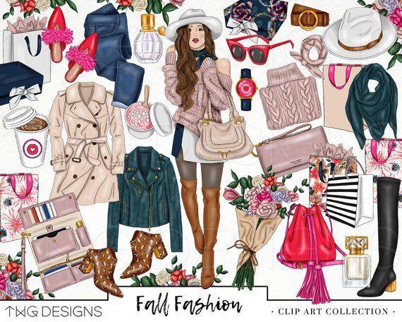 Fall Fashion Girl Clip Art Watercolor Clipart Shopping.