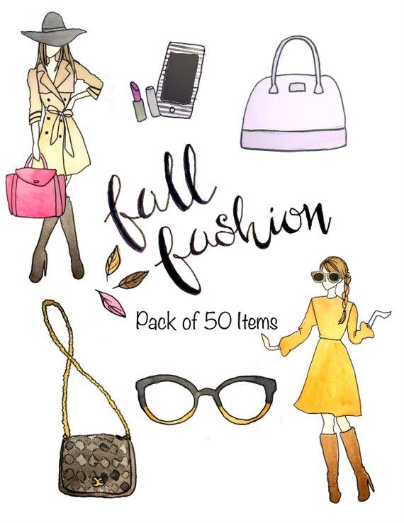Fall Fashion Clipart, Fashion Girls, Watercolor Clipart.