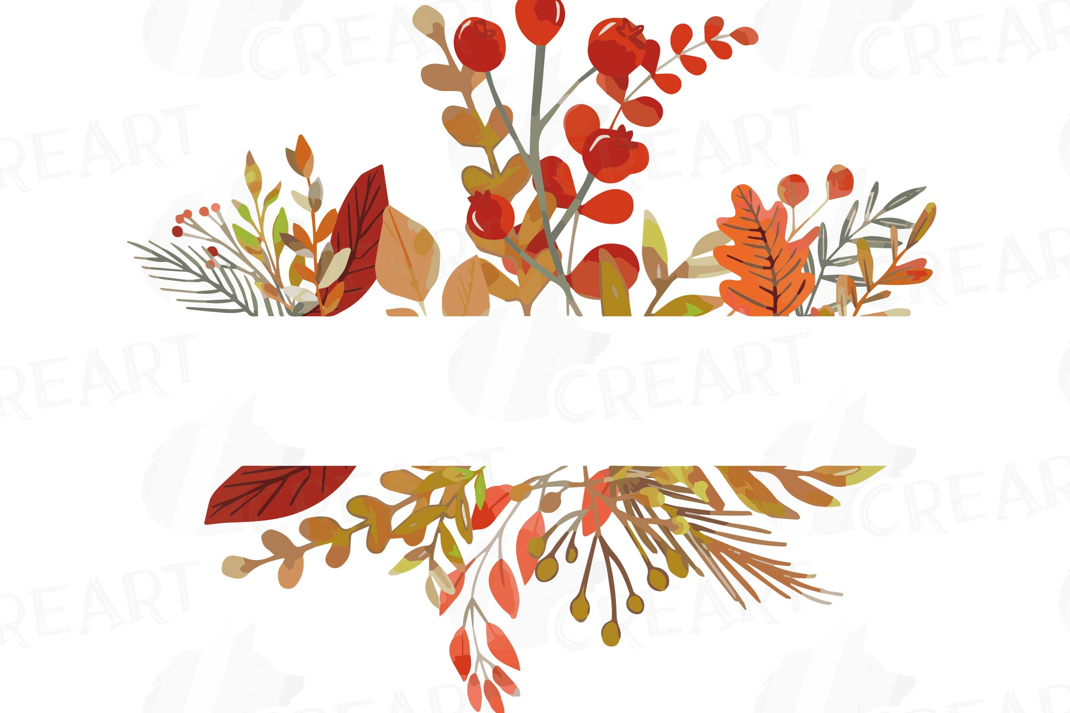 Autumn frames watercolor clip art pack, fall design borders.