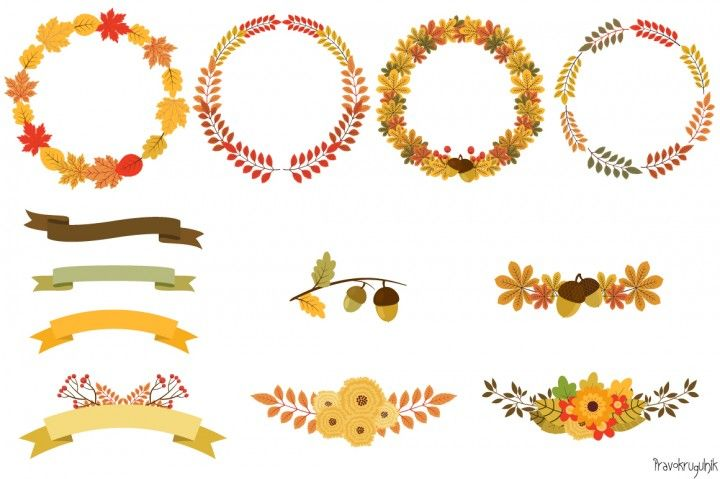 Autumn wreaths clipart, Fall floral border, Round frame By.