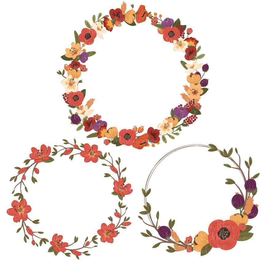 952 Floral Wreath free clipart.