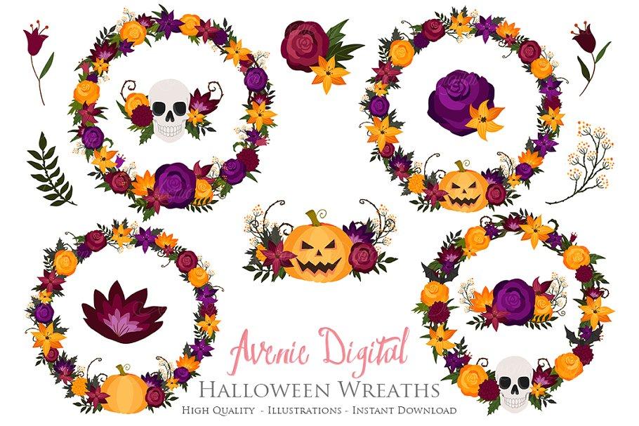 Halloween Flower Wreath Clipart.