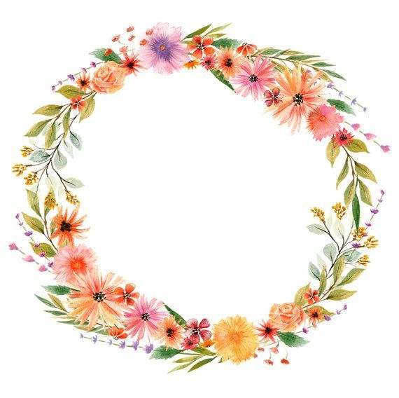 Watercolor autumn flowers floral wreath watercolor clipart.