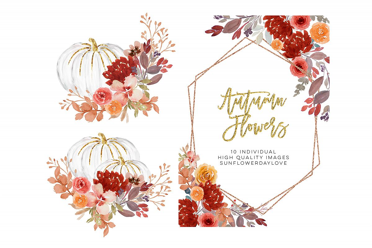 Fall Autumn Wreath Floral Watercolor Clipart.