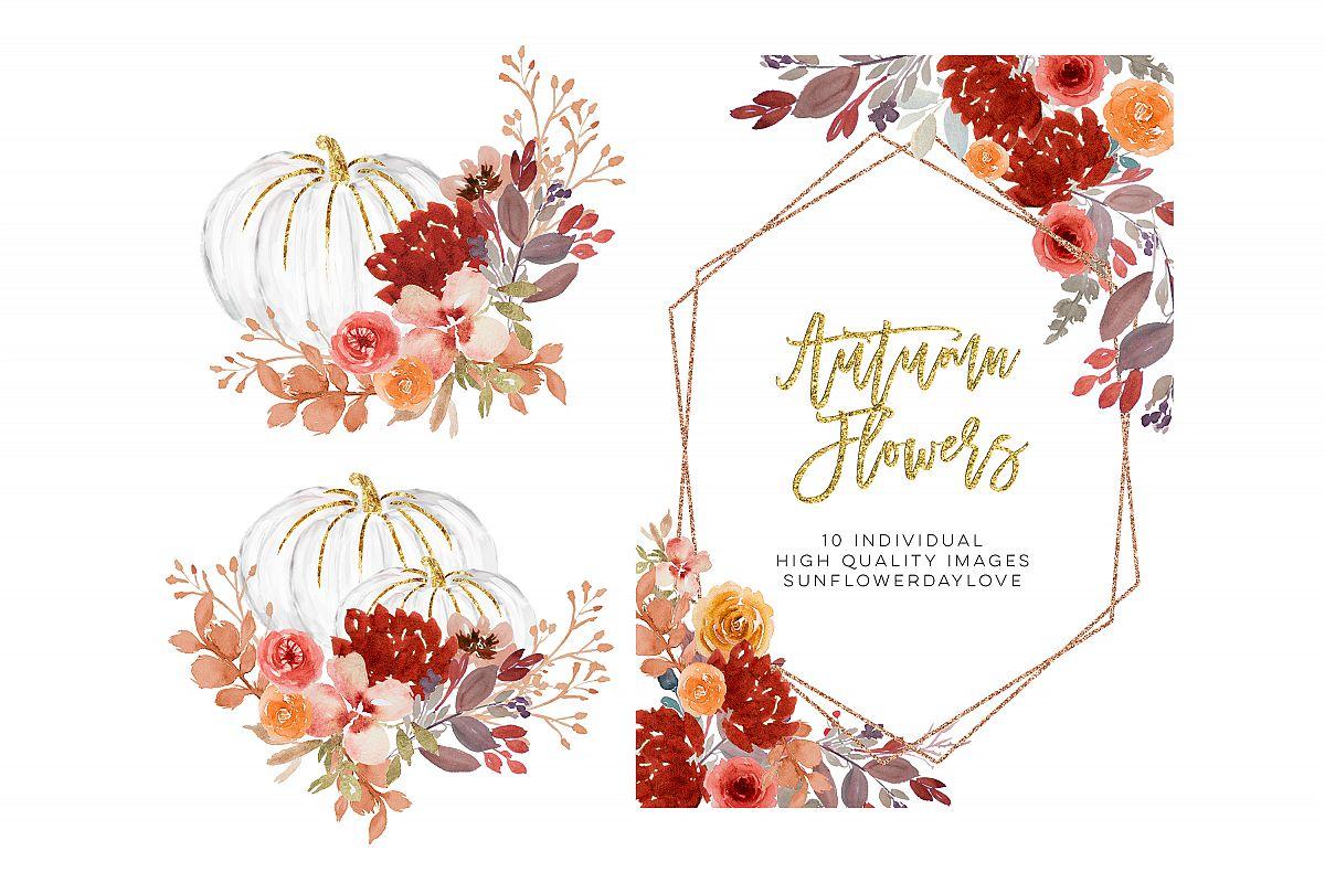 Fall Autumn Wreath Floral Watercolor Clipart.