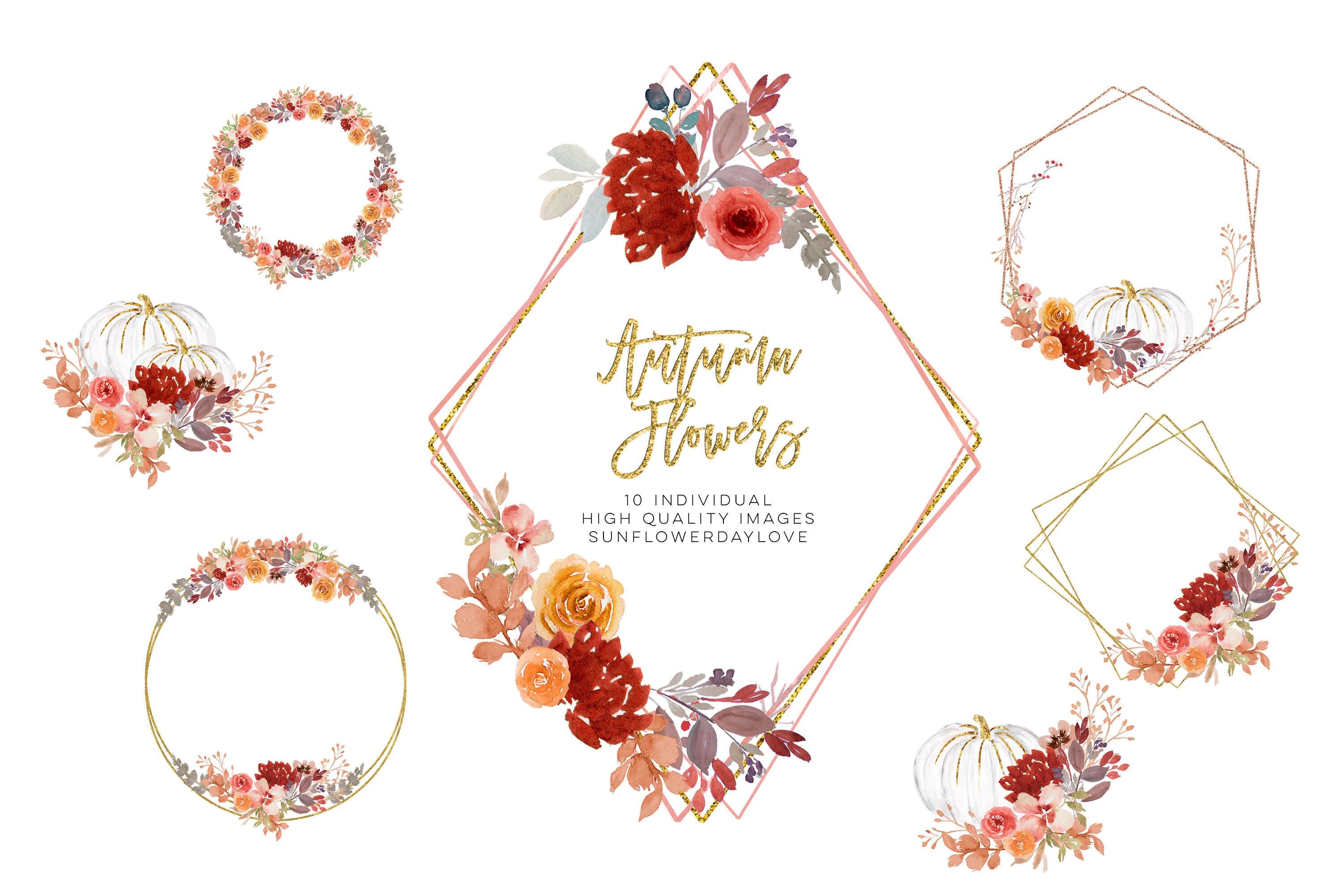Fall Autumn Wreath Floral Watercolor Clipart, flower wreath.