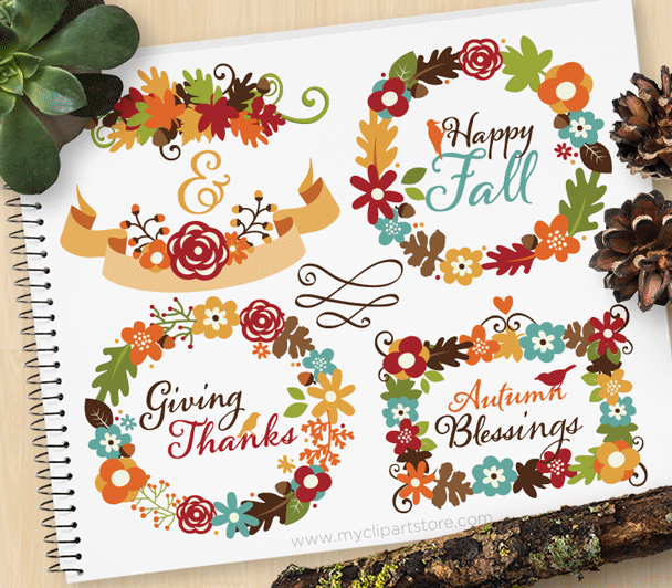 Autumn Floral Wreaths Clipart.