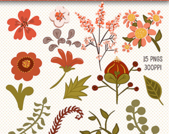 Clip Art Flowers Fall Floral Clip Art Fall by CheriesArtsnCrafts.